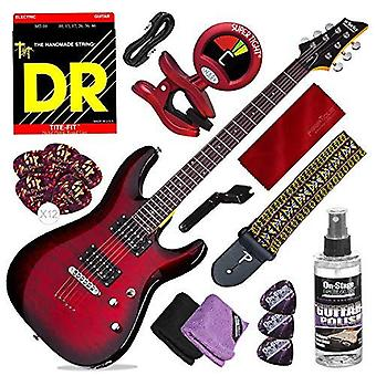 Schecter c-6 plus solid-body electric guitar, see-thru cherry burst deluxe bundle with guitar strap + tuner + strings + picks + cable + ps56743