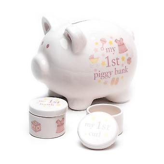 Widdop & Co. Ceramic Piggy Bank Tooth & Curl Set - Pink