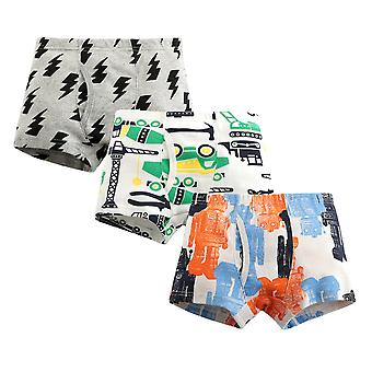 Yunyun Boys Cartoon Robot Lightning Print Three-piece Cotton Poxer Panties