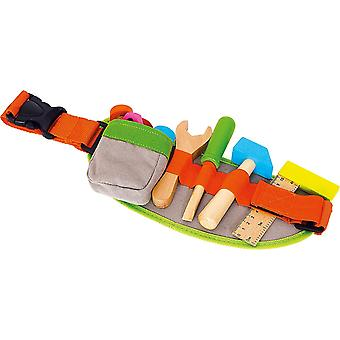 HanFei 4745 Verstellbarer Werkzeug-Grtel inkl. buntem Spielwerkzeug und -zubehr aus Holz, ab 3 Jahre