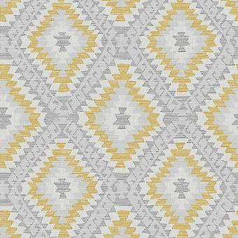 Aztec Geo Grey Ochre Wallpaper