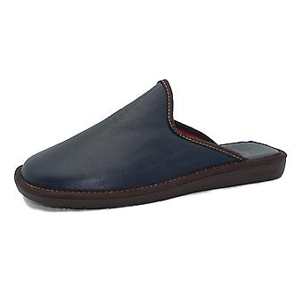 Nordikas 188 Dublin Men's Leather Luxury Slippers In Navy