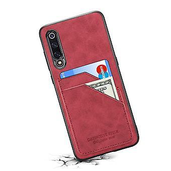 Nahkakotelo lompakkokorttipaikalla Huawei P40 punaiselle