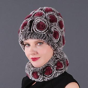 High-quality Women Winter Natural Real Rex Rabbit Fur Hat Scarf