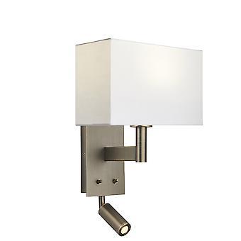 Lámpara de pared con luz de lectura placa de bronce antigua, vintage de tela blanca rectangular sombra