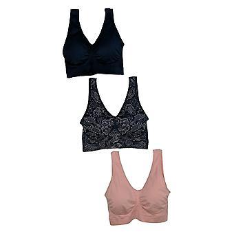 Rhonda Shear Women's Bra Reg 3-pack Seamless Ahh Bra w/ Pads Pink 720772