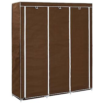 Wardrobe With Pockets And Rods 150X45X175 Cm Fabric Brown
