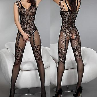 Exqusite Design Sexy Much-loved Floral Motif Mesh Body Stockings Black
