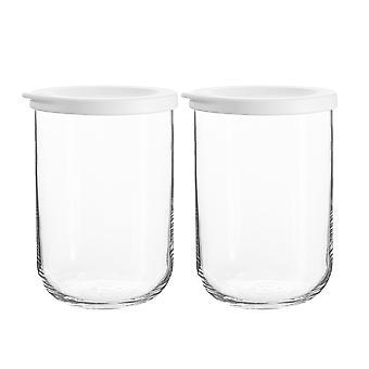 2x Duo Glass Storage Jar apilable Cocina Contenedor Tapa de silicona 1 litro blanco