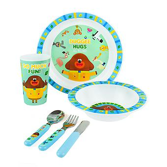 Hey Duggee Dinner Set 6 Piece For   Tableware Characters Lunch Reusable Cutlery Plate Bowl Tumbler Cup   Lightweight TV Show Blue Merchandise