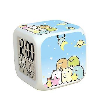Sumikkogurashi Despertador Kids Digital Led Despertador Luz noturna brilhante Relógio de Mesa