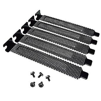 5pcs Black Mesh PCI Slot Covers Bracket With Screws Dust Filter Blanking Plate