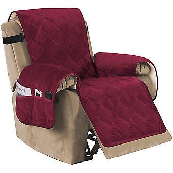 Vilstol soffa slipcover slip resistant sammet vilstol lock möbelskydd med elastiska remmar, vinröd
