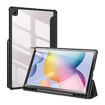 Case For Samsung Galaxy Tab S6 Lite,folio Trifold Stand Smart Cover With Detachable Slim Hard Shell Transparent Back Cover - Black
