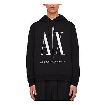 Armani Exchange A x Mens Stor Logo Hoodie Overhead Svart