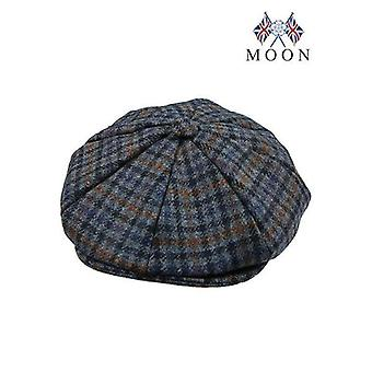 Airforce Blue Dogtooth Check Abraham Moon 8-Piece Tweed Cap
