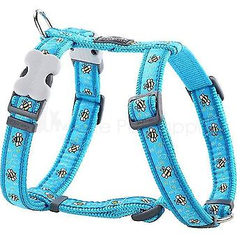 Pet collars harnesses s:15mm n:30-48cm b:36-54cm dog harness bumble bee turquoise