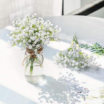 Artificial Breath Fake Flowers Bouquet Gypsophila Bulk Flower In White For Wedding Wreath Garden Decoration 8 Pcs