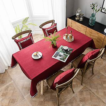 Baumwolle Leinen Rechteckige Tischdecke, Reine Farbe Einfache Moderne wasserdichte Tischdecke, Home Kitchen Tischdecke (Wein Rot, 140 * 200cm)