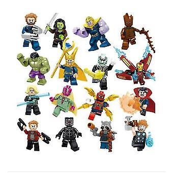 16pcsマーベルスーパーヒーローフィットレゴアベンジャーズインフィニティ戦争ミニフィギュアマンハルク