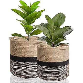 2-pack Jute Rope Planter Basket, 30cm + 20cm, Modern Woven Storage Basket For 10 '' Flower Pot Floor Indoor Planter, Cotton Rope Storage Basket Rustic