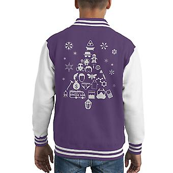 Breaking Bad Christmas Tree Silhouette White Kid's Varsity Jacket