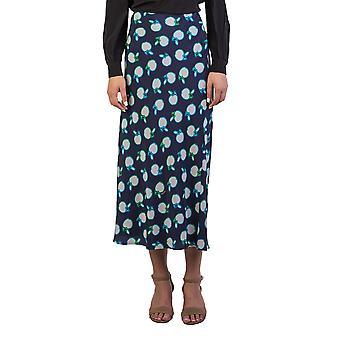 Miu Miu Women's Silk Fruit Print Long Skirt Navy