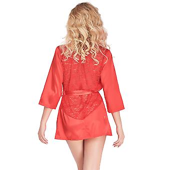 Mio Sexy Rose Red Satin and Lace Robe and Thong Set B2659B