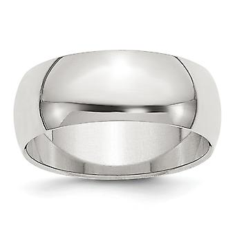 925 Sterling Silver 8mm Half Round Band Ring - Ring Size: 4 to 13.5