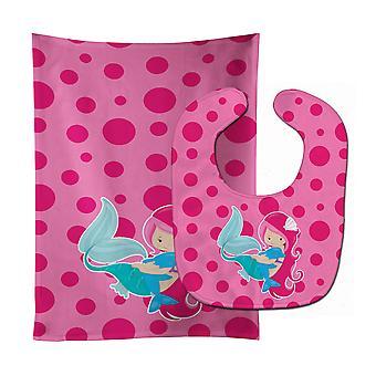 Carolines Treasures  BB8819STBU Beach Mermaid Pink Baby Bib & Burp Cloth