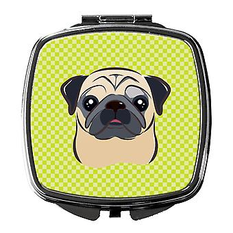 Carolines Treasures  BB1324SCM Checkerboard Lime Green Fawn Pug Compact Mirror