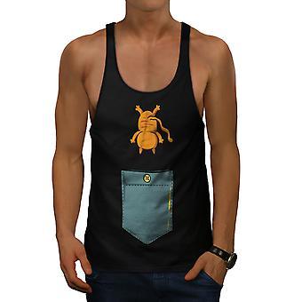 Cute Cat Pocket Funny Men BlackGym Tank Top | Wellcoda