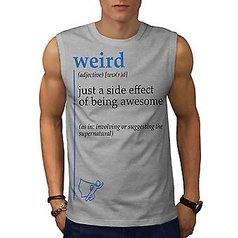 Komische Seite Männer GreySleeveless T-shirt | Wellcoda