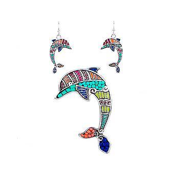 Parure: Halsband och örhängen multicolor Dolphin