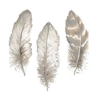 Neutral Watercolor Feathers II Poster Print by Patricia Pinto