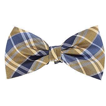 Knightsbridge Neckwear Checked Silk Bow Tie - Yellow/Blue