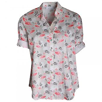 Just White Women's Shortsleeve Flamingo Print Shirt