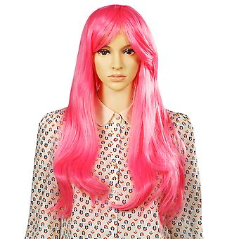 TRIXES Long Pink Wig Soft Waves  Natural Looking Wavy Layered Synthetic Hair