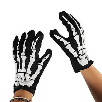 TRIXES Взрослый унисекс - скелет кости перчатки черный и белый один размер