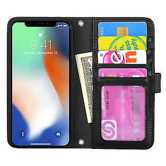 TOP left handed wallet case iPhone X/Xs Black