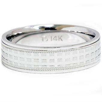 Mens 14k White Gold Hand Made Wedding Ring Band New