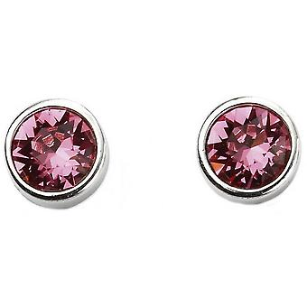 Beginnings October Swarovski Birthstone Earrings - Silver/Pink