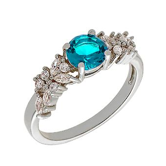 Bertha Juliet Collection Women's 18k WG Plated Light Blue Cluster Fashion Ring Size 5