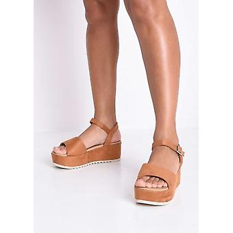 Faux Suede Strap Flatform Sandals Camel Brown