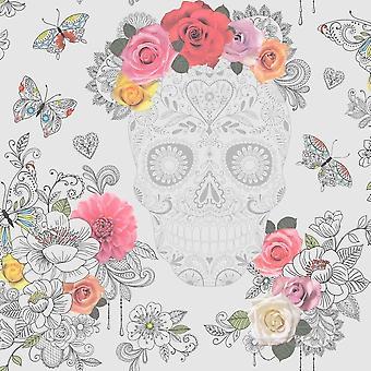 Czaszka kwiat kwiatowy Tapety motyle Sztuka Nowoczesna serca róże Funky Rasch szary/różowy
