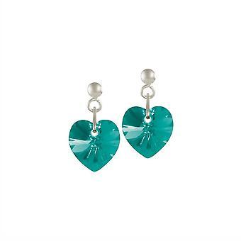 Eternal Collection Amour Blue Zircon Crystal Heart Sterling Silver Drop Pierced Earrings