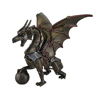 Steampunk Dragon Holding Orb Bronze Finish Fantasy Art Statue