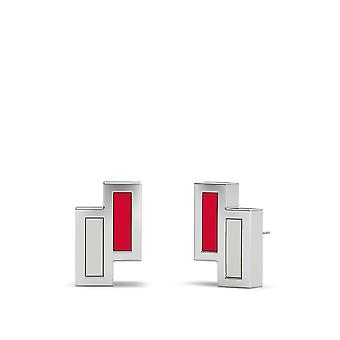 University Of Nevada Las Vegas Sterling Silver Asymmetric Enamel Stud Earrings In Red and Grey