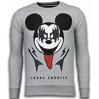 Kiss My Mickey-Rhinestone Sweatshirt-Grey