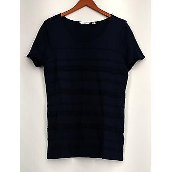 Liz Claiborne York Short Sleeve Striped Lace Knit Top Blue A233521